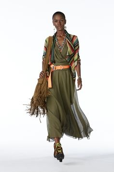POLO Women Spring 2015 collection: Serape stripe cotton blend sweater, olive silk dress, vintage cognac fringe hobo, and snuff calf suede hiker sandal