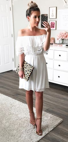 white off-the-shoulder dress