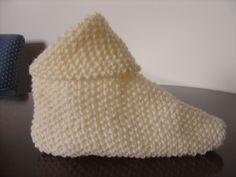 Receita de Tricô: Sapatinho de quadrado de tricô
