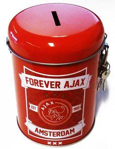 Rode spaarpot van je favoriete Amsterdamse voetbalclub.   Afmeting: volgt later.. - Spaarpot ajax rood forever