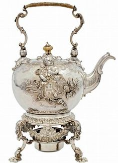 Silver kettle with ivory finial on cover and silver stand by Paul de Lamerie, London, 1736-38.