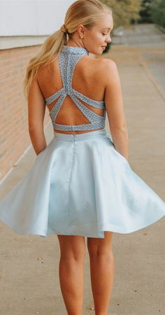 8a31902d899 Light Blue Two Piece Mini Homecoming Dresses with Pocket Halter Beaded Hoco  Dress ard1709