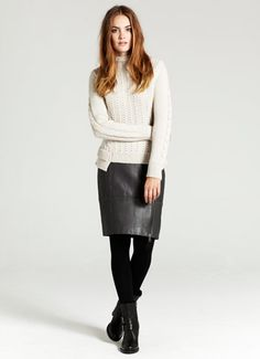Buy Mint Velvet Peplum Jumper, Neutral, 16 from our Women's Knitwear range at John Lewis & Partners. Cable Knit Jumper, Leather Mini Skirts, Up Girl, Navy Stripes, Girls Best Friend, Get The Look, My Wardrobe, Knitwear, Peplum