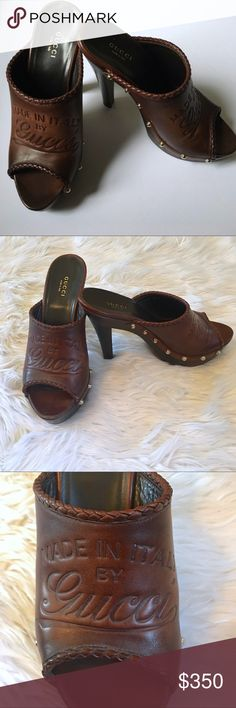 Gucci Craft Brown Leather Clog Mule heel 7 7.5 Gucci Craft Brown Leather Clog high heels sz 7.5.  SUPER RARE!! These are 100% Authentic.  In Excellent Condition.  Hand-stained leather. Braided Trim. Gold-coated stud hardware. Wood platform and heel. Padded sole. Leather lining. 3.5 inch heel. 1.5 inch platform. Sku#56801071TFF Gucci Shoes Mules & Clogs