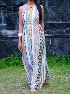Multicolor Mixed Folk Print Cut Out Detail Maxi Dress
