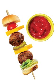 8 Snacktime Kabobs  cheeseburger: bread cubes, cheese, meatballs, lettuce, tomato, pickle; dip in ketchup  Italian: salami, cheese, tortellini; dip: Italian dressing or pesto  Wrap: pcs of wrap: turkey & cheese in tortilla w/apple slices & grapes  brkfst: tomato, boiled egg, ham &/or bacon &/or turkey; dip: ranch