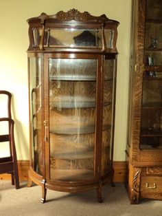 Oak Curved Glass China Cabinet w. Beveled Mirror
