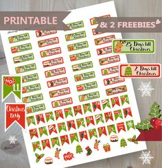 CHRISTMAS COUNTDOWN Printable Planner by BunnyInFlightPlanner Christmas Stickers, Christmas Printables, Dotted Bullet Journal, Bullet Journals, Xmas Countdown, Planner Pages, Planner Ideas, Printable Planner Stickers, Free Printables