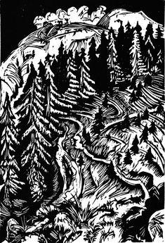 Ernst Ludwig Kirchner. Three Paths, 1917, woodcut