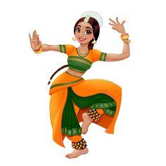Dance Paintings, Indian Art Paintings, Dancing Drawings, Cute Drawings, Girl Cartoon, Cartoon Art, Indian Drawing, Indian Illustration, Female Dancers