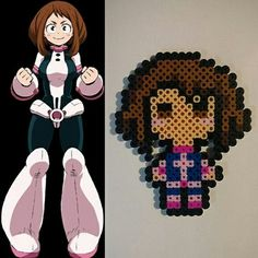Ochaco Uraraka Uravity My Hero Academia perler bead original design hero costume Hama Beads Pokemon, Diy Perler Beads, Perler Bead Art, Pearler Beads, Pearl Beads Pattern, Hama Beads Patterns, Pixel Beads, Fuse Beads, Anime Pixel Art