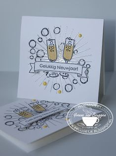 Yvonne is Stampin' & Scrapping: Stampin' Up! Mixed Drinks and Kinda Eclectic New Years card #stampinup
