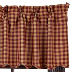Check out the deal on Burgundy Check Scalloped Valance at Primitive Home Decors