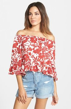 Topshop+Long+Sleeve+Floral+Bardot+Top+available+at+#Nordstrom