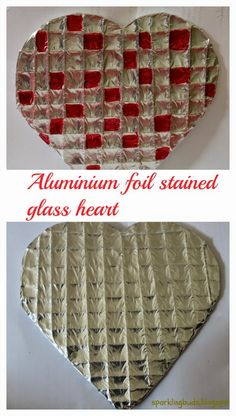 Aluminium foil heart - Valentines day gift idea! Very simple mess free art!