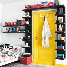 Bookshelf Door - Interior Design Ideas for Small Spaces & Flats… Bookshelf Door, Bookshelves, Bookshelf Ideas, Bookshelf Design, Wall Shelf Unit, Wall Shelves, Shelf Units, Ikea Shelves, Storage Shelves