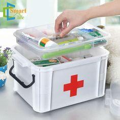 Medicina de família em camadas de plástico de armazenamento caixa de armazenamento caixa de primeiros socorros