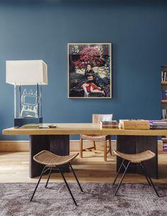 Home office vintage decor paint colors 24 super ideas Wicker Shelf, Wicker Tray, Wicker Mirror, Wicker Table, Wicker Sofa, Wicker Baskets, Rattan, Dark Wood Desk, Office Paint Colors