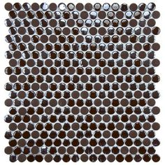 "EliteTile Posh 11-1/4"" x 12"" Penny Round Porcelain Mosaic Wall Tile in Brown"