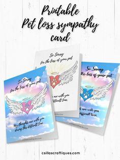 Printable pet loss sympathy card, dog loss card, cat loss card, dog lover remembrance card, dog memory card, dog memorial card. Download here! #petloss #dogloss #catloss #dogmemorial #pet #cat #dog #catmemorial Memorial Cards, Pet Memorial Gifts, Dog Memorial, Sympathy Card Sayings, Sympathy Gifts, Gifts For Pet Lovers, Dog Gifts, Grieving Gifts, Cat Themed Gifts