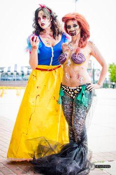 Zombie Ariel and Zombie Snow White ComiConn 2014 Photo credit: Jesse Newman Models: Julia Williams  Jessica McCurry #makeup #specialfx #halloween #zombies #zombieariel #zombiesnowwhite #cosplay #disneyprincess #costume #ariel #snowwhite