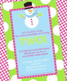 Snowman Party Invitation - Birthday - Winter Wonderland- Winter ONEderland- Amanda's Parties To Go