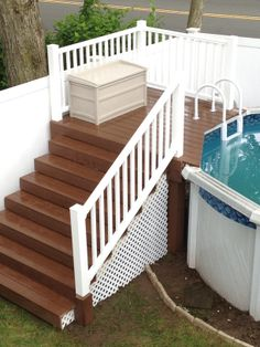 Custome Built Pool Deck - picture only Semi Inground Pool Deck, Jacuzzi Outdoor, Swimming Pools Backyard, Pool Landscaping, Above Ground Pool Decks, In Ground Pools, Cabana, Pool Deck Plans, Pool Storage
