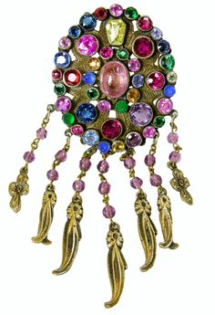 Vintage 30s Czech Pin With Multi Colored Rhinestone http://www.jeweldiva.com/vintage-czech-multicolored-pin.html