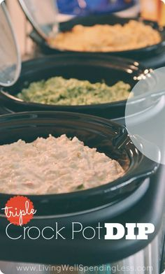 Triple Crockpot Dips. Got a triple crockpot to use for parties, but aren't quite sure how to fill it? These three easy and delicious hot dips--Buffalo Chicken, Creamy Crab, & Spinach Artichoke--give an awesome mix of flavors and make entertaining practically effortless!