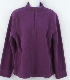 L.L. Bean Women's 1/4 Zip Neck Pullover Fleece Top L Reg Purple Berry #LLBean #PulloverFleece