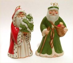 Franklin Mint Bisque Santa Claus Ornaments Faces of Christmas Around the World