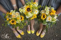 Gorgeous Yellow Bouquets!  Gray and yellow wedding shot by Ace Photography at Legacy Farms, Flowers by Enchanted Florist