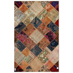 """Gorgeous Pak Persian Hand-Knotted Patchwork Multicolored Wool Rug (6'3"""" x 9'10"""") 