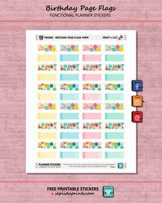 Free Printable Birthday Page Flag Planner Stickers - Sepiida Prints