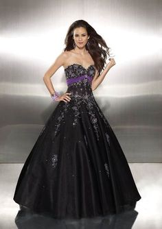 Custom Made Embroidery Sweetheart Purple Sash A Line Prom Dresses Gowns Black