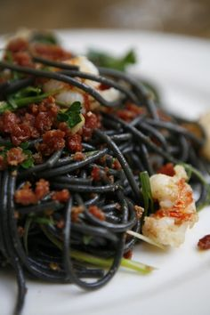 Black Spaghetti with Royal Red Shrimp, Spicy Salami Calabrese and Green Chilies | Babbo  New York City