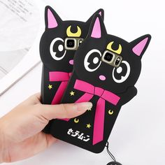 Find More Phone Bags & Cases Information about 3D Cartoon Sailor Moon Luna Cat Cute Silicon phone Case For samsung galaxy S5/S6/S7/S7 Edge With Luna Cat Dust plug  Capa Para,High Quality case bb,China case for nokia e51 Suppliers, Cheap case from David 3C Store on Aliexpress.com
