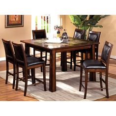 Furniture of America Walwick Tobacco Oak 7-Piece Counter Height Dining Set - Overstock™ Shopping - Big Discounts on Furniture of America Dining Sets