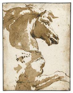 Billedresultat for tiepolo drawings Horse Drawings, Ink Pen Drawings, Art Drawings Sketches, Animal Drawings, Animal Sketches, Art Graphique, Horse Art, Texture Art, Ancient Art