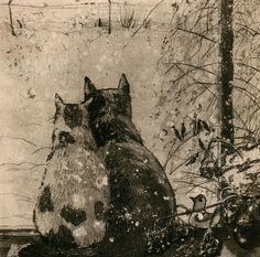 Plusha and Musya | etching of two cats in the snow, prints from $22 | by Aleksey Zuev