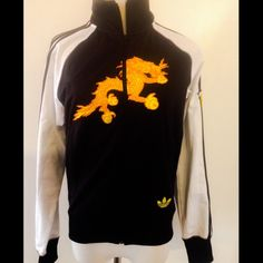 ❤️Vintage Rare Adidas Bhutan Track Jacket Rare Adidas Bhutan Track Jacket  Authentic Adidas Black & White with yellow Dragon on front and Bhutan on the arm and back Adidas Bhutan Jackets & Coats