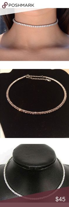 "Brilliant CZ Crystal Tennis Necklace  Brilliant CZ Crystal Tennis Chocker Necklace  Approx 16"" with extender. Jewelry Necklaces"