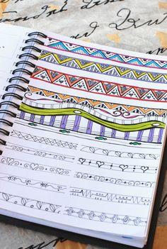 "https://flic.kr/p/cY3dLL | Art Journal - Zenspirations Filler Patterns | Practicing filler patterns and triangle pattern variations from ""Zenspirations, Letters & Patterning"" by Joanne Fink."