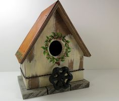 Hand painted birdhouse .. LOVE the faucet handle! :o)    Made by -- CraftingDaily (Crafting Daily Supply Shop) @ Etsy