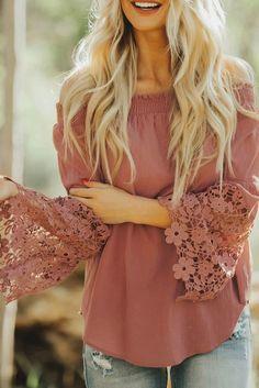 Orange Off Shoulder Long Sleeve Crochet Hem Blouse Top – ModeShe.com #blouse