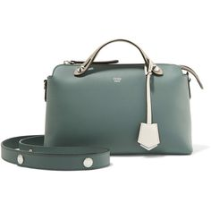 Fendi By The Way color-block leather shoulder bag ($1,800) ❤ liked on Polyvore featuring bags, handbags, shoulder bags, gray green, green leather purse, leather shoulder handbags, genuine leather shoulder bag, shoulder strap bags and grey purse