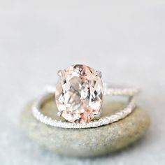 Oval Morganite on White Gold Engagement Ring