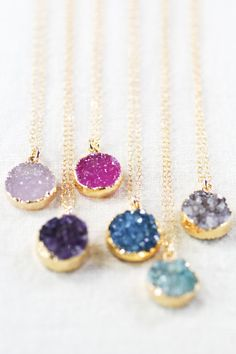 10 Fabulous Bridesmaid Gifts on @intimatewedding These druzy pendant necklaces are by KealohaJewelry #bridemaidgifts #weddingnecklace #jewelry