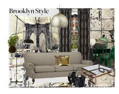 """Brooklyn Brownstone Style"" by dunjavasic ❤ liked on Polyvore featuring interior, interiors, interior design, home, home decor, interior decorating, Oeuf, Crate and Barrel, Studio and Pottery Barn"