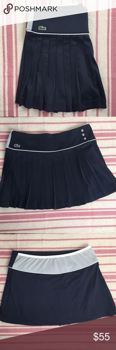 Lacoste Tennis Skirt (NWOT) NWOT!  Navy Lacoste Tennis Skirt; Pleated, White accents with cute button detail; Size 38 (US 6) 🎾 Lacoste Skirts